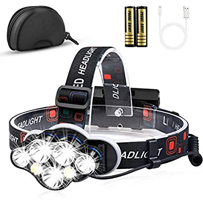 Headlamp, MOICO 12000 Lumen Ultra Bright 7 LED Headlight Flashlight with White Red Lights, USB Rechargeable Waterproof Head Lamp, 8 Modes for Outdoor Camping Cycling Running Fishing