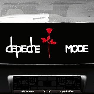 GreenIT Set Exciter Schriftzug und Rose Aufkleber Tattoo die Cut car Decal Auto Heck Deko Folie Depeche Mode (weiß rot)