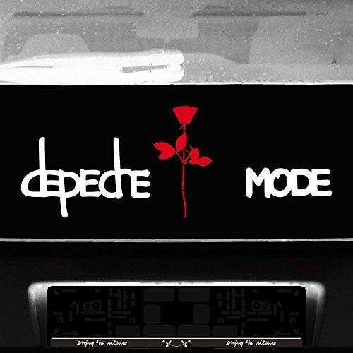 GreenIT Set Exciter Schriftzug und Rose Aufkleber Tattoo die Cut car Decal Auto Heck Deko Folie Depeche Mode (weiß-rot)