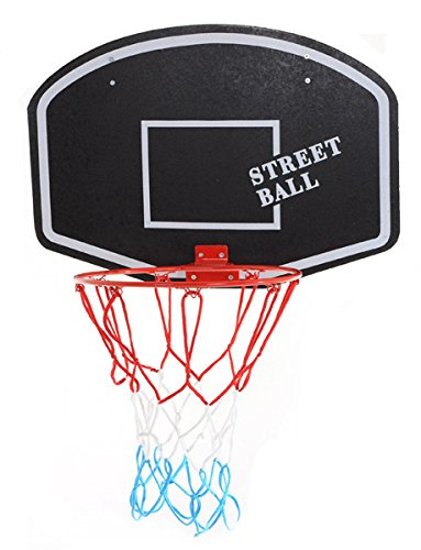 ABA Basketballboard Basketballkorb mit Netz Basketball Backboard für Kinder Basketballbrett inklusive Korb und Netz Basketballring Indoor (Street Ball weiß)