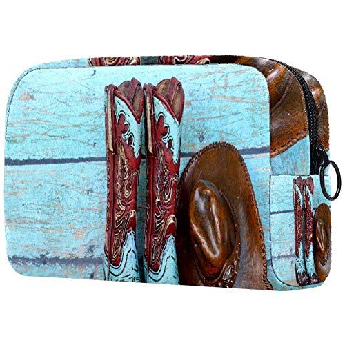 Bolsa de cosméticos con botas de vaquero y gorra, bolsa de almacenamiento de cosméticos portátil, bolsa de...