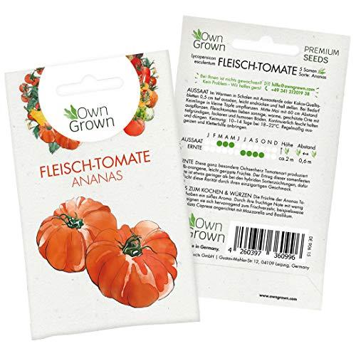 Tomatensamen Fleischtomate Ananas: Ananas Tomaten Samen zum einfachen Anbau von Tomatenpflanzen, Gelbe Tomaten zur Anzucht für Balkon und Garten, Alte Tomatensorten Samen – 5 Gemüse Samen von OwnGrown