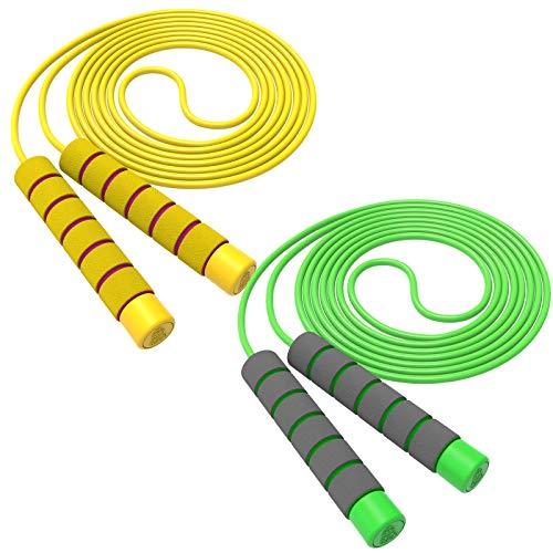 Svkiyang Springseil Kinder 6 jahre,seilspringen sport 2 Stück 240CM,3-12 Jahre alt für Jungen und Mädchen ideal für Fitness Training/Spiel/Fett Brennen Übung (Gelb-Grün)