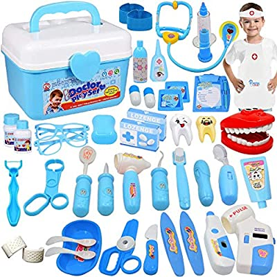 JGSY Doctor Kit for Kids 45 Pieces Toy Doctor Kit Pretend Dentist Medical Toy Kids Doctor Kit with Electronic Stethoscope for Boys, School Classroom and Doctor Roleplay Dress-Up