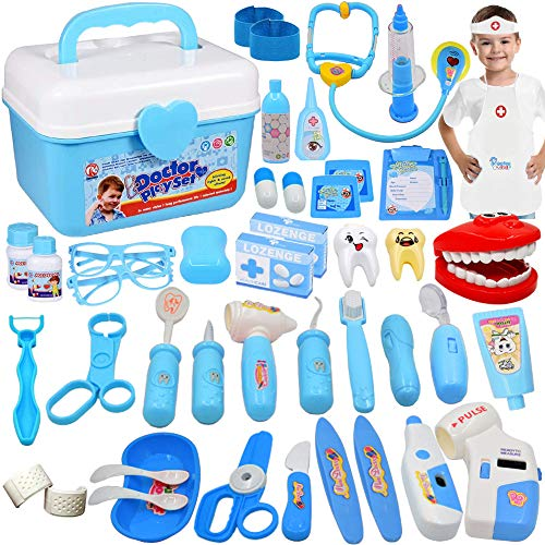 JGSY 45 Pieces Doctor Kit for Kids Pretend Doctor Kit Toys Medical Playset for Boys Doctor Roleplay for Kids with Medical Storage Box for Preschool Children Ages 3+