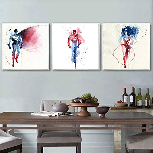 Acuarela man Superhéroes Wonder Woman Lienzo Pintura Cuadros de pared para dormitorio Cartel Moderno Minimalista Niños Arte de la pared 16X16Inchx3Panels