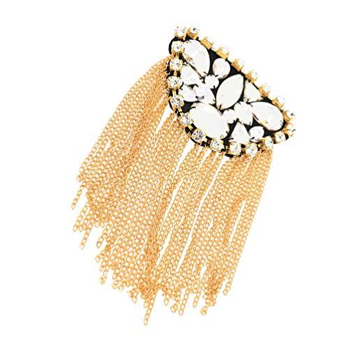 PRETYZOOM Charretera de Diamantes de Imitación Chaqueta Charretera Borla de Hombro Piloto Broche de Oro Accesorios de Joyería Almohadillas para Mujer- Creativa Insignia de Hombro Broche de