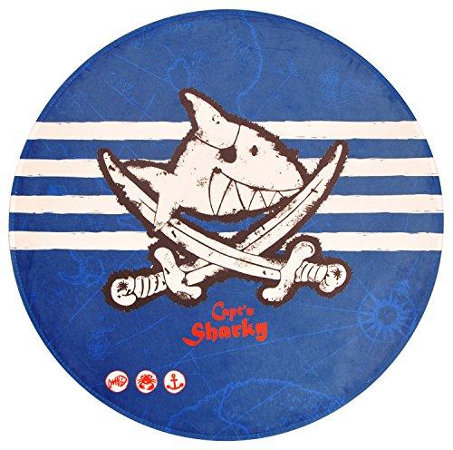 Capt'n Sharky Kinderteppich Weich und Soft, Teppich Hai Schwert Ø100 cm Rund Farbe Blau, Kinderzimmer Teppich Öko-Tex zertifiziert, Bildmotiv für Jungen