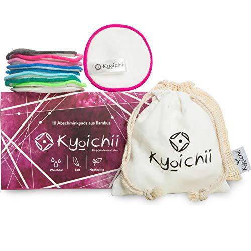 Kyoichii Lot de tampons cosmétiques lavables en coton réutilisables en fibres de bambou et charbon actif + sac de rangement + filet à linge