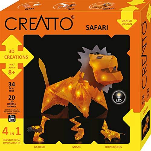 Kosmos CREATTO Safari 3D-Leuchtfiguren entwerfen, 3D-Puzzle-Set für Löwe, Vogelstrauß, Schlange oder Nashorn, kreative Zimmer-Deko, 34 Steckteile, 20-tlg. LED-Lichterkette Kinder & Erwachsene