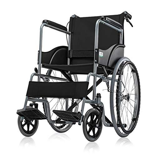 HLFBZ XXL Rollstuhl, Trolley mit Handicap, Multifunktions-Roller mit Handkurbel, faltbar mit Vollgummireifen mit Handbremse, geeignet for Bein- und Fußbeschwerden (Color : Black)