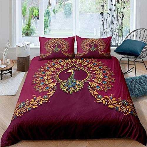 BEDSETAAA bedding 3D Print Bohemian animal gold blue green peacock pattern Double 1 X bed cover (200 Cm x 200 Cm) Duvet Cover Cotton Blend Bedding Set With Polyester-Cotton 2 pillowcases (50 x 75 Cm)