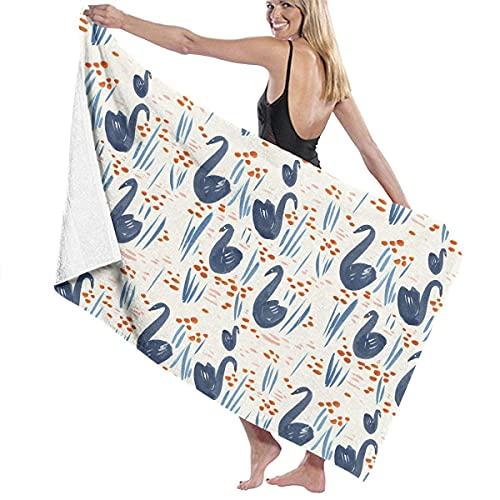 Lsjuee Toalla de piscina Patrón de cisne azul Sábana de baño para adultos Toalla de piscina transpirable Baño de piscina Unisex Ultra suave Personalizado Hermosa playa Toalla de playa Secado r