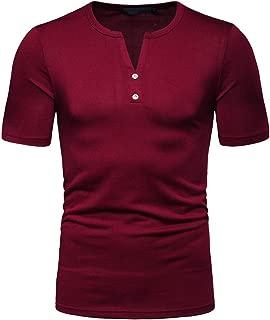 Elegeet Men's Casual Slim Fit Short Sleeve Henley T-Shirts Cotton Tee Shirts