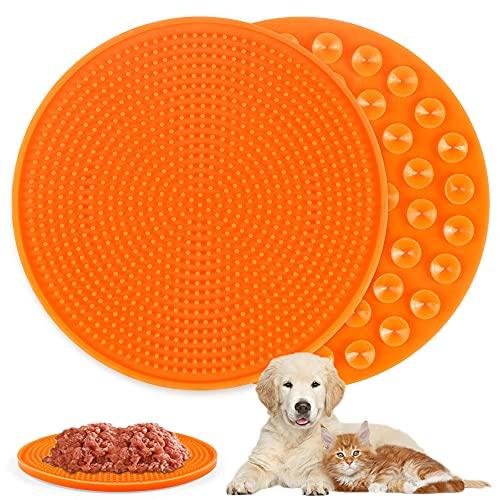O-Kinee Hund Lecken Pad, Runde Pad Slow Feeder, Licking Mat, Slow Feeder Leckpad, Leckmatte Hund, Leckmatte für Hunde und Katzen, für Haustier-Baden, Pflege, Training, Ablenkung