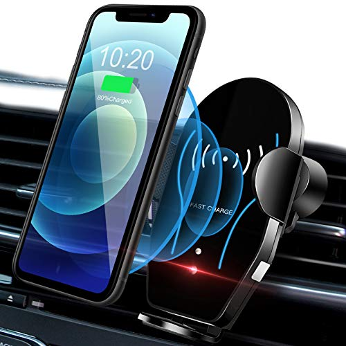 Wireless Car Charger Mount, Auto Clamping Qi 10W 7.5W Fast Wireless Charger Air Vent Car Phone Holder Compatible with iPhone 11 Pro Max Xs X XR 8+, for Samsung S10 S10+ S9 S9+ S8 S8+& Qi Smartphone