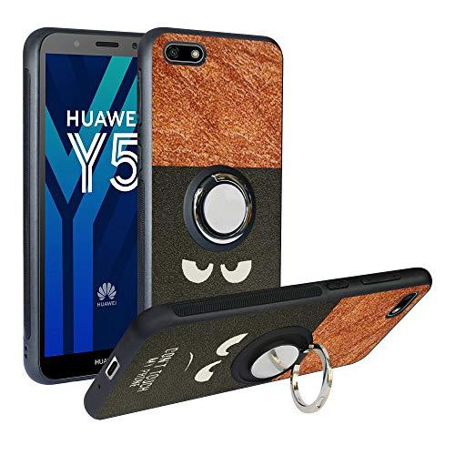 Funda para Huawei Y5 2018, Fashion Design [Antigolpes] con 360 Anillo iman Soporte, Resistente a los arañazos TPU Funda Protectora para Honor 7S/Y5 Prime 2018,Do Not Touch