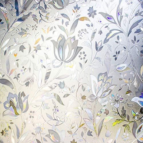 N / A Statische kleberfreie 3D-Lasertulpe Glasfensterfolie Aufkleber Privatsphäre matt PVC Balkon Schlafzimmer Tür UV-Schutz Home Glas Dekorfolie A4745x100cm