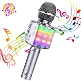 ShinePick Bluetooth Karaoke Microphone, 4 in 1 Wireless Microphone Handheld Portable Karaoke Machine, Home KTV Player, Compatible with Android & iOS Devices(Silver)