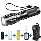 byblight 800lúmenes CREE T6Linterna táctica linterna, foco ajustable LED Linterna con cargador USB y 26650batería recargable, 5modos y resistente al agua LED linterna para uso interior y exterior