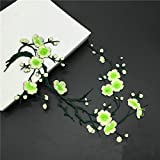 1pcs Plum Blossom Flower Applique Clothing Embroidery Patch Fabric Sticker Iron On Patch Craft Sewing Repair Embroidered(Bud Green)