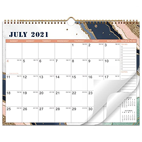 2021-2022 Calendar - 18 Monthly Calendar with Thick Paper, 14.6' x 11.5', Jul. 2021 - Dec. 2022, Twin-Wire Binding + Hanging Hook + Unruled Blocks with Julian Date, Horizontal - Pink