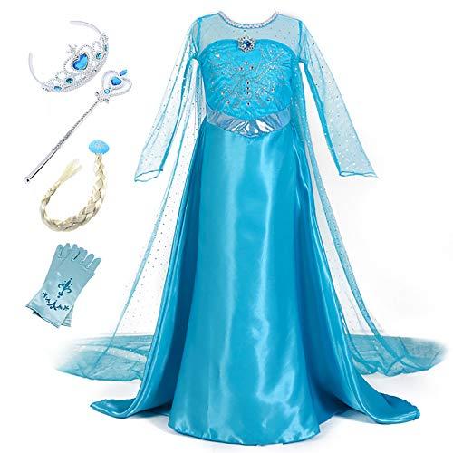 Monissy Mädchen Prinzessin Kleid Eiskönigin Cosplay Kostüm Kinder ELSA Kleid Eisprinzessin Kostüm Blau Elegant Fasching Kostüm Set Krone Zauberstab Handschuhe Zopf Karneval Verkleidung Party 110-150
