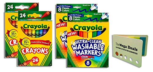 Crayola Crayons 24 Count - 2 Packs | Crayola Ultra-Clean Washable Markers 8 Count – 2 Packs | Includes 5 Color Flag Set