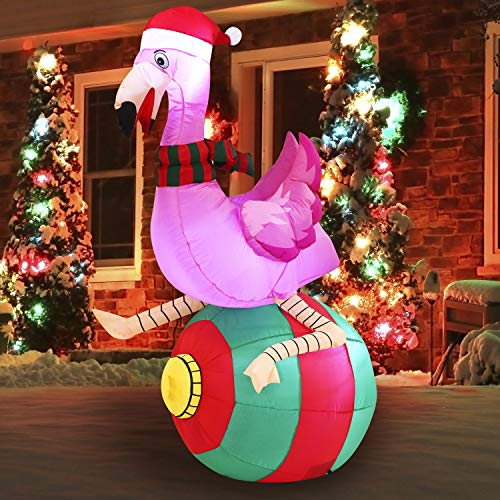 Joiedomi Christmas Inflatable Decorations Flamingo on Ornament 6 ft with Build-in LEDs Blow Up Inflatables for Christmas Party Indoor, Outdoor, Yard, Garden, Lawn Décor, Holiday Season