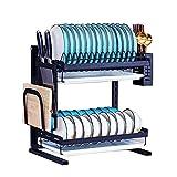 Buringer Dish Drying Rack 2 Tier Dish Drainer with Drain Board, Utensil Holder