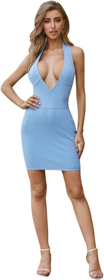 YonCog Ladies Evening Dress Halter Dress Nightclub Sexy Deep V Mini Skirt Skinny Backpack Hip Skirt Women's Club & Night Out Dresses (Color : Blue, Size : Medium)