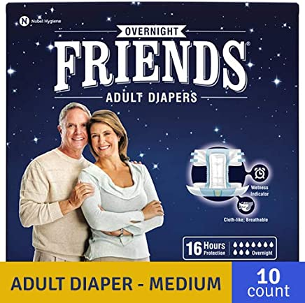 """FRIENDS Overnight High Absorbency Adult Diapers With Wetness Indicator Medium Waist Size (28""""- 44"""" Inch) 10 Pcs"""