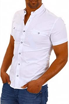 GFRBJK Hombres Camisa de Manga Corta Slim Fit Negro Camisa ...