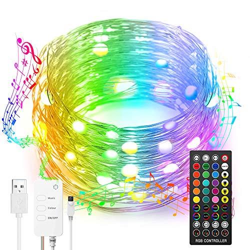 Nobent DreamColor 5M LED String Lights USB 16FT RGBIC Stringa di filo di rame impermeabile Luci per matrimonio Halloween Natale, sincronizzazione musicale, 8 modalità luci scintillanti