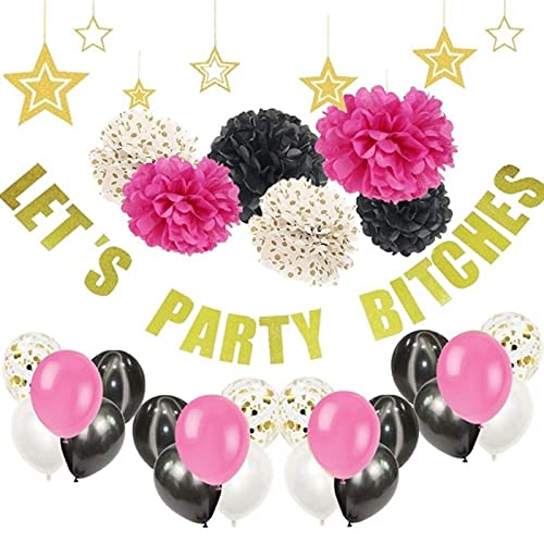 Party Decorations Bachelorette Party Decorations Bride to-Be Party Supplies Latex Balloons Pompom Hanging Banner Bridal Shower Decor Favors