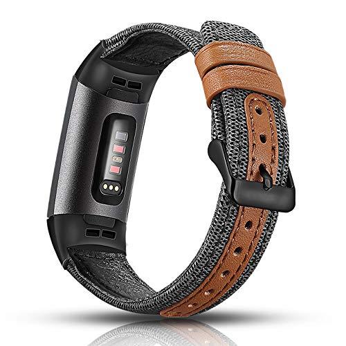 Aottom Compatibel voor Fitbit Charge 3 Band Vrouwen Mannen Canvas Stof Lederen Band Smart Horloge Vervanging Bands Metalen Armband Polsbanden voor Fitbit Charge 3 / Opladen 3 SE Fitness Tracker Accessoires