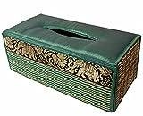 Funda para caja de pañuelos de trenzado de caña hecha con materiales sostenibles y ecológicos y un exquisito ribete de seda. (Aguamarina)