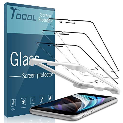 TOCOL 3 Pièces Verre Trempé Compatible pour iPhone SE 2/ iPhone SE 2020, Dureté 9H sans Bulles Facile à Installer Film Protection écran