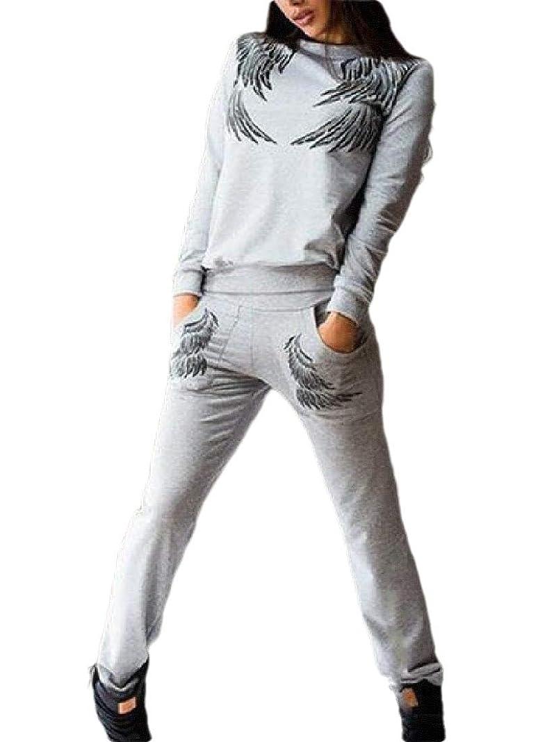 頭上級胃レディースロングスリーブスウェットスーツセットスウェットシャツとスポーツパンツトラックスーツ
