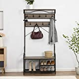 O&K FURNITURE Coat Rack Shoe Bench, Industrial Hallway Hall Tree with Shoe Storage, Mudroom Bench with Storage and Hooks, Gray
