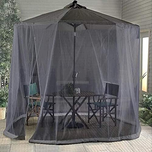 RDJSHOP Mosquitera Neta para sombrilla, jardín de Mosquitos al Aire Libre Patio Paraguas campesas de campaña Pantalla de Red Poliéster con Cremallera Malla Clave para Mesa Individual Puerta