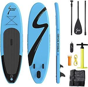 immagine di streakboard Tavola da SUP, Stand Up Paddle Board Gonfiabile 305×76×15cm, Tavola da Surf Gonfiabile con Accessori Completo, Borsa, Pagaia e Pompa, per Tutti Livelli