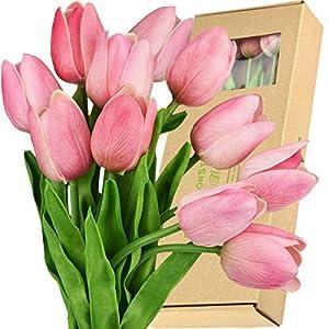 Silk Flower Arrangements FiveSeasonStuff Tulips Artificial Flowers | Real Touch | Wedding Bouquet Home Décor Party | Floral Arrangements | 15 Stems (Amaranth Pink)