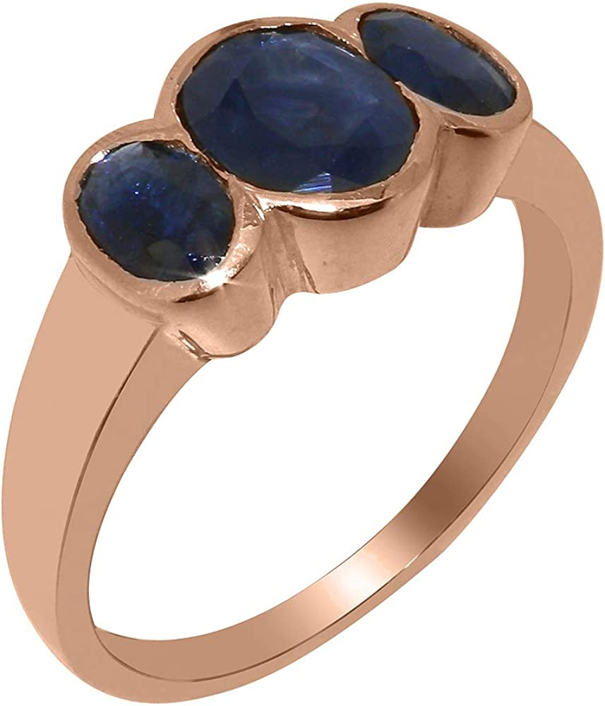 Solid 18k Rose Gold Natural Sapphire Womens Trilogy Ring - Sizes 4 to 12 Available