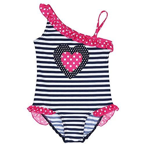 iEFiEL Mädchen Kinder Badeanzug Bademode Einteiler Bikini Schwimmanzug Streifen 92 98 110 116 128 Blau 98 (Herstellergröße:104-110)