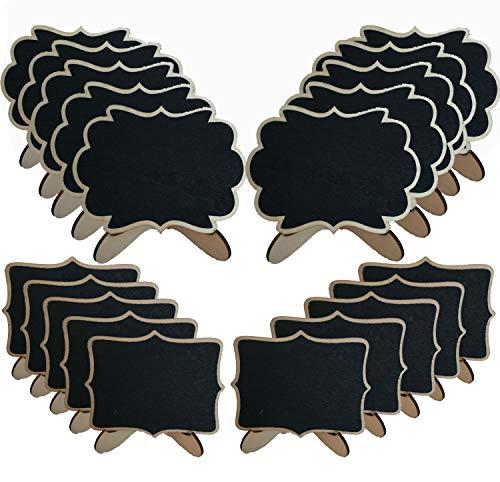 Homefantasy 20 Pezzi Mini Lavagna, Mini Lavagna Lavagnette,Mini lavagne con supporto,per i segni di posti Numero di Tavolo Etichette per i Regali e dei Prezzi Matrimoni segna di Posto