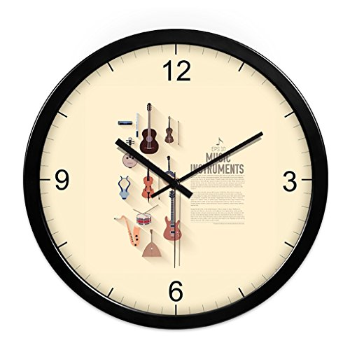 WDWL Reloj De Pared, Música, Piano, Silencio, Reloj De Pared, Personalidad Simple, Creativa, Moderna Sala De Estar, Arte De Pared, Aula, Reloj WD (Color : Black, Size : 12 Inches)
