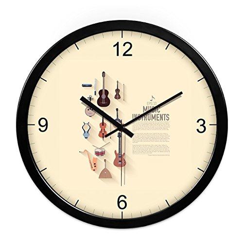 WDWL Reloj De Pared, Música, Piano, Silencio, Reloj De Pared, Personalidad Simple, Creativa, Moderna Sala De Estar, Arte De Pared, Aula, Reloj WD (Color : Black, Size : 12 Inches)