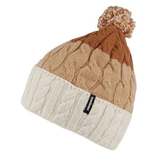 Patagonia W POM Beanie Gestreift-Braun-Weiß, Damen Kopfbedeckung, Größe One Size - Farbe Glacier Stripe - Birch White -