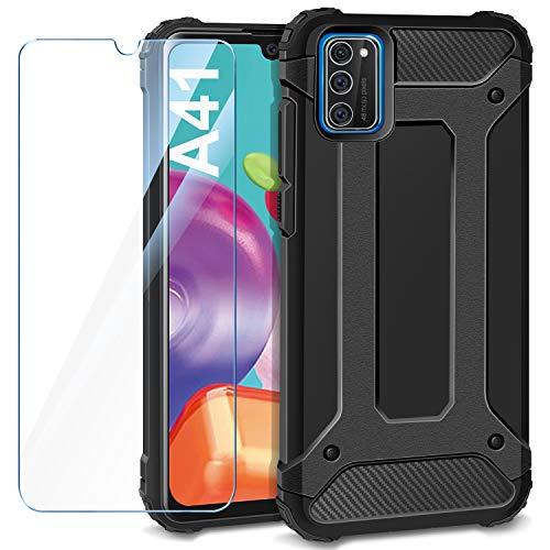 AROYI Samsung Galaxy A41 Hülle + Panzerglas, Samsung Galaxy A41 Case Outdoor Handyhülle Tough Silikon TPU + PC Bumper Doppelschichter Schutz Schutzhülle für Samsung Galaxy A41 Schwarz